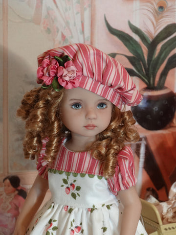 Sweet Strawberries - dress, beret, tights & shoes for Little Darling Doll