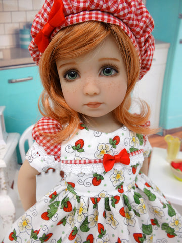Sweet Strawberry Shortcake - dress, hat, tights & shoes for Little Darling Doll or 33cm BJD