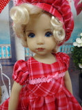 Sweetheart Plaid - dress, hat, tights & shoes for Little Darling Doll or 33cm BJD