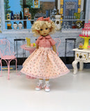 Swinging Rosebuds - blouse, circle skirt, socks & saddle shoes for Little Darling Doll or 33cm BJD