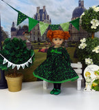 Swirl of Clovers - dress, tights & shoes for Little Darling Doll or 33cm BJD