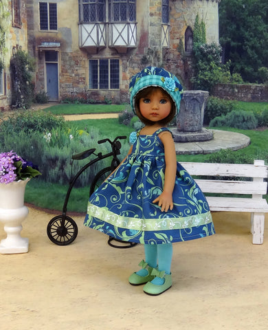 Swirling Vines - dress, hat, tights & shoes for Little Darling Doll or other 33cm BJD