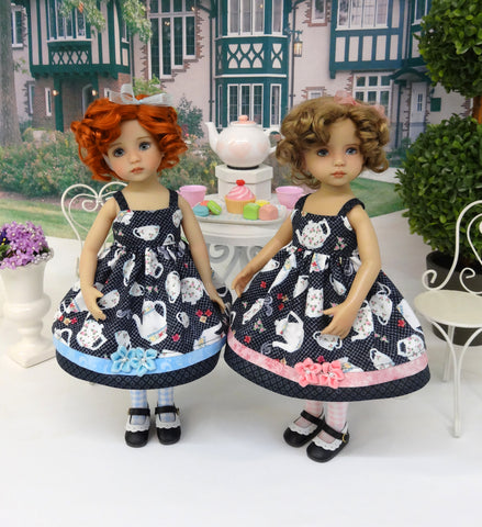 Tea for Two - two ensembles with dresses, tights & shoes for Little Darling Dolls or 33cm BJD