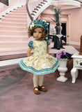 Teal Rosebud - dress, beret, tights & shoes for Little Darling Doll or other 33cm BJD