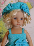 Terrific in Turquoise - babydoll top, beret, leggings & shoes for Little Darling Doll