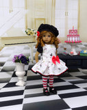 Tiny Dancer - dress, beret, tights & shoes for Little Darling Doll or other 33cm BJD