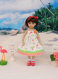 Tiny Flamingo - dress, socks & shoes for Little Darling Doll or 33cm BJD