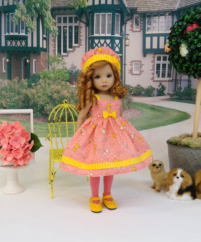 Tiny Terrier - dress, hat, tights & shoes for Little Darling Doll or 33cm BJD