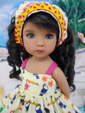 Toucan Treasure - dress, kerchief & sandals for Little Darling Doll or 33cm BJD