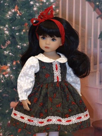 Traditional Christmas - dress, tights & shoes for Little Darling Doll or 33cm BJD