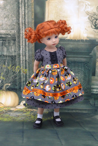 Trick or Treat - dress, apron, socks & shoes for Little Darling Doll or 33cm BJD