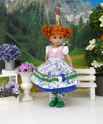 Trier Gardens - dirndl ensemble with tights & boots for Little Darling Doll or 33cm BJD