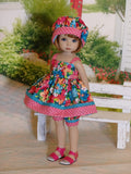 Tropic Bouquet - babydoll top, bloomers, hat & sandals for Little Darling Doll