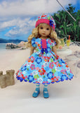 Tropic Hibiscus - dress, hat, tights & shoes for Little Darling Doll or other 33cm BJD