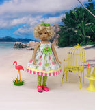 Tropical Pineapple - dress, tights & shoes for Little Darling Doll or 33cm BJD