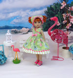 Tropical Postcard - dress, kerchief & sandals for Little Darling Doll or 33cm BJD