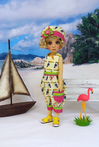 Tropical Toucan - romper, hat & sandals for Little Darling Doll or 33cm BJD