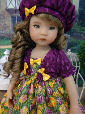 Tulip Jubilee - dress, jacket, beret, tights & shoes for Little Darling Doll or 33cm BJD
