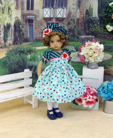 Tutti Floral - dress, beret, tights & shoes for Little Darling Doll or other 33cm BJD
