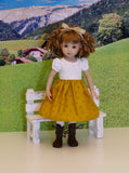 Tyrol Valley - dirndl ensemble with tights & boots for Little Darling Doll or 33cm BJD