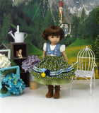 Tyrolean Meadow - dirndl ensemble with tights & boots for Little Darling Doll or 33cm BJD