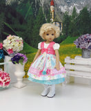 Tyrolean Summer - dirndl ensemble with tights & boots for Little Darling Doll or 33cm BJD