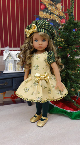 Under the Mistletoe - dress, beret, tights & shoes for Little Darling Doll or other 33cm BJD
