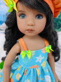 Under the Sea - dress, hat, socks & shoes for Little Darling Doll or 33cm BJD