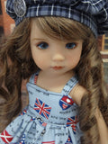 Union Jack - dress, jacket, beret, tights & shoes for Little Darling Doll or 33cm BJD
