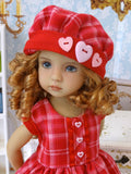 Valentine Plaid - dress, hat, tights & shoes for Little Darling Doll