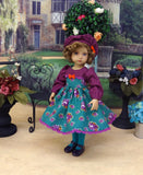 Vibrant Autumn Rose - dress, hat, tights & shoes for Little Darling Doll or 33cm BJD
