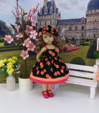 Vibrant Roses - dress, hat, tights & shoes for Little Darling Doll or 33cm BJD