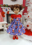 Visit from Santa - dress, socks & shoes for Little Darling Doll or 33cm BJD