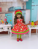 Watermelon Patch - dress, hat, tights & shoes for Little Darling Doll or 33cm BJD