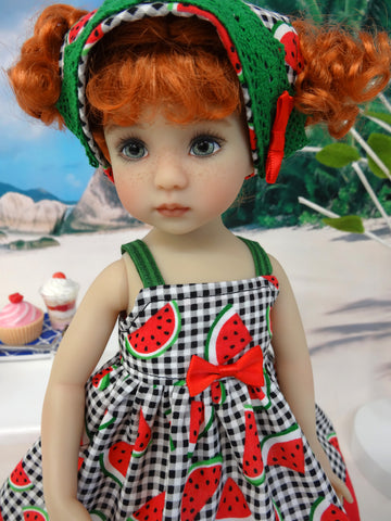 Watermelon Picnic - dress, kerchief & sandals for Little Darling Doll or 33cm BJD