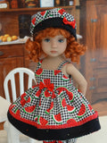 Watermelon Seeds - babydoll top, bloomers, hat & sandals for Little Darling Doll