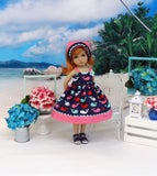 Wee Whale - dress, kerchief & sandals for Little Darling Doll or 33cm BJD