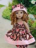 Western Paisley - babydoll top, bloomers, hat & sandals for Little Darling Doll