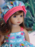Whale of a Time - babydoll top, bloomers, hat & sandals for Little Darling Doll