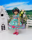 Whimsical Meadow - dress, tights & shoes for Little Darling Doll