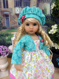 Whimsical Paisley - dress, jacket, beret, tights & shoes for Little Darling Doll or 33cm BJD