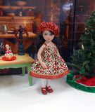 Winter Berries - dress, sweater, hat, tights & shoes for Little Darling Doll or 33cm BJD