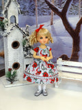 Winter Birds - dress, tights & shoes for Little Darling Doll or 33cm BJD