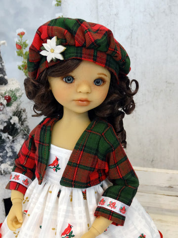 Winter Cardinal - dress, jacket, beret, tights & shoes for Little Darling Doll or 33cm BJD