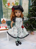 Winter Chickadee - dress, beret, tights & shoes for Little Darling Doll or other 33cm BJD