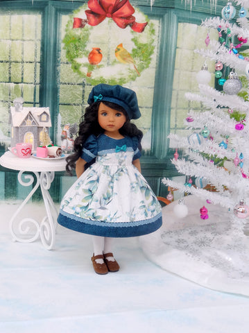 Winter Mistletoe - dress, hat, tights & shoes for Little Darling Doll or 33cm BJD