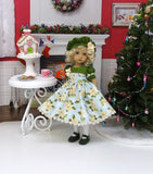 Winter Poinsettia - dress, hat, tights & shoes for Little Darling Doll or 33cm BJD