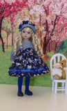Wonderland Blues - dress, tights & shoes for Little Darling Doll or 33cm BJD