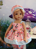 Wonderland Whimsy - babydoll top, bloomers, hat & sandals for Little Darling Doll