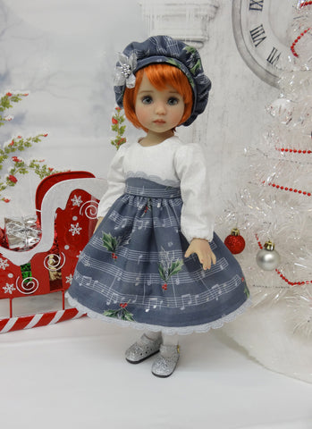 Yuletide Carols - dress, hat, tights & shoes for Little Darling Doll or 33cm BJD